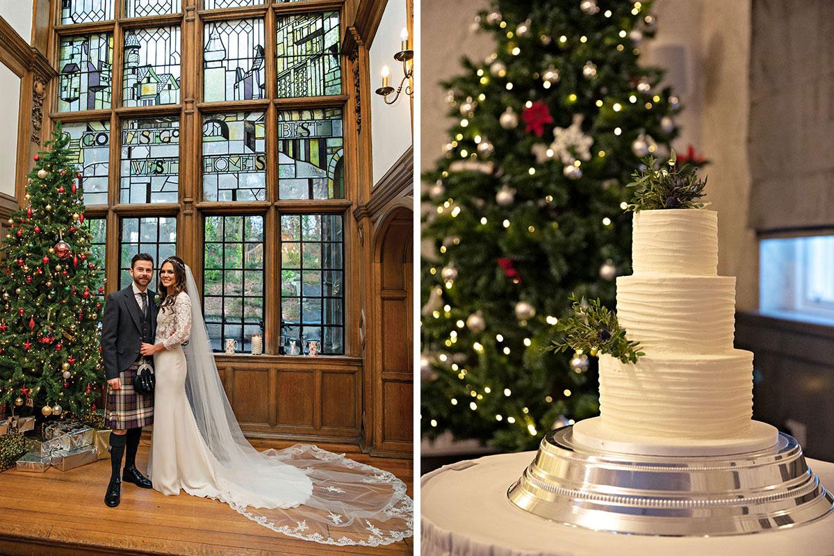 Bride groom standing next to Christmas tree and white wedding cake