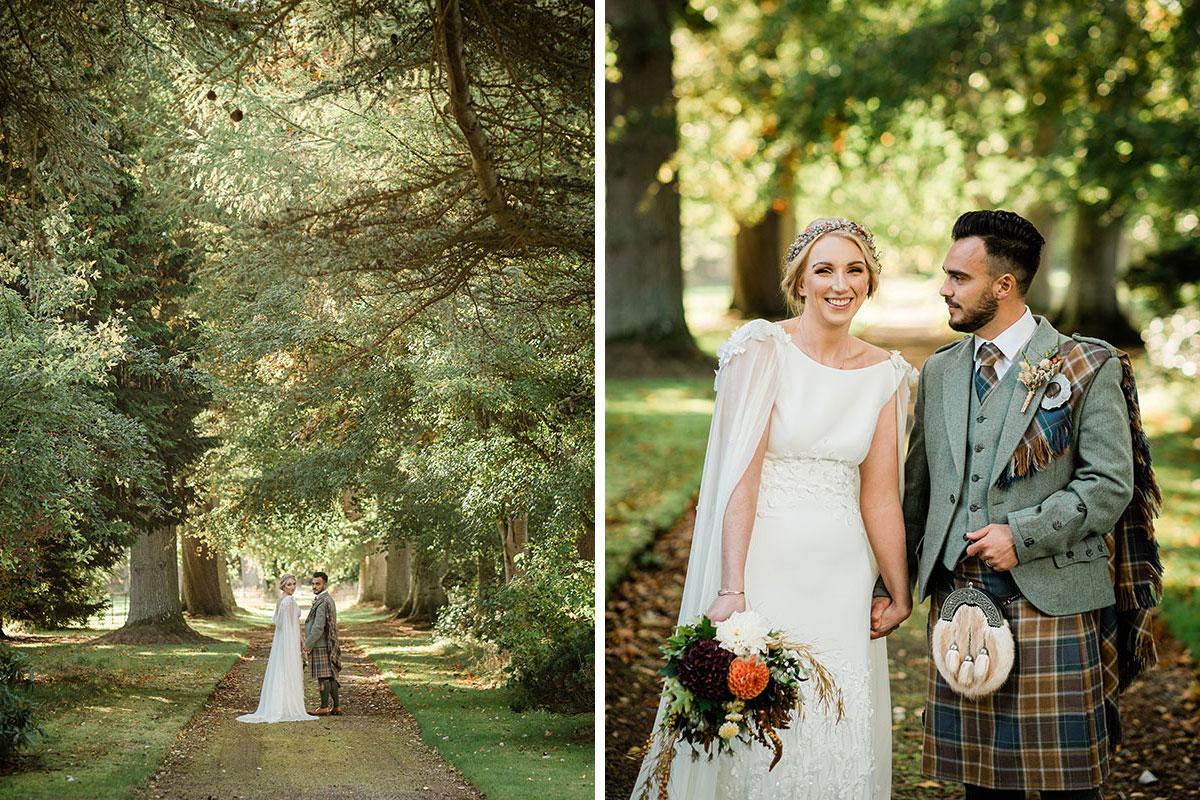 Bride and groom in woods at errol park