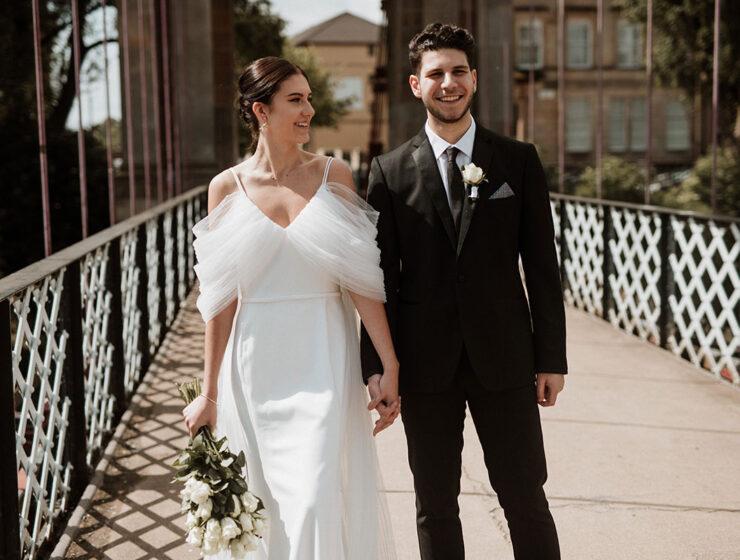bride groom on bridge in Glasgow Lena Sabala Photography