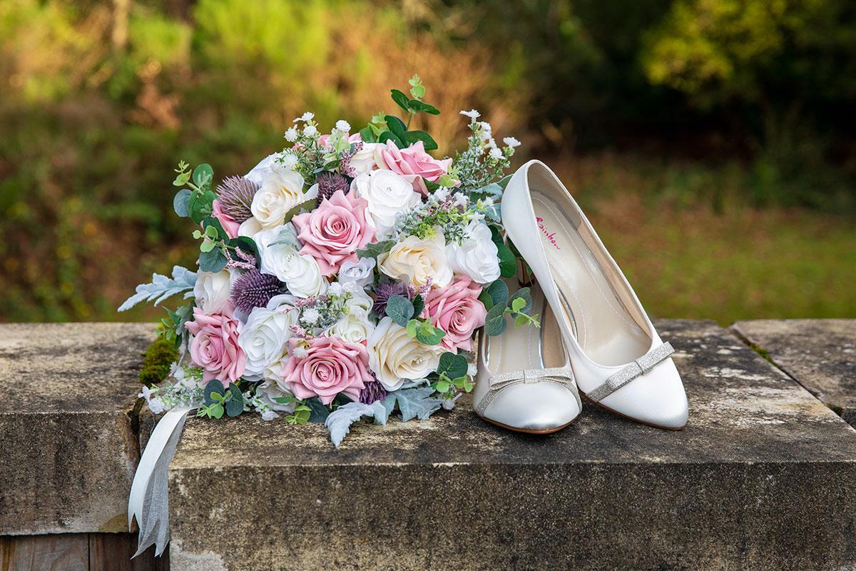 Rainbow Club shoes and Beau Bouquet flowers