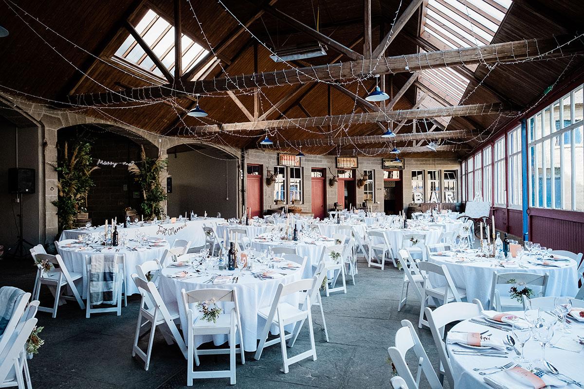 wedding dinner set up at Errol Park