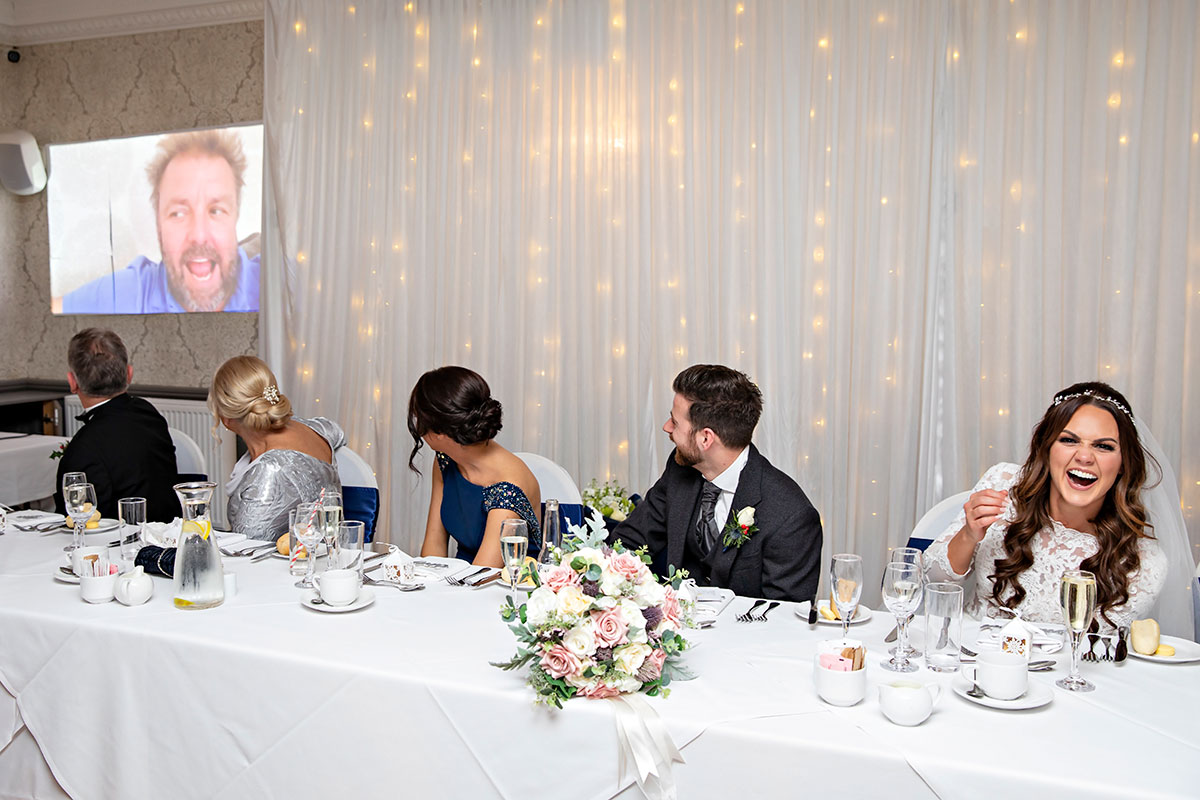 video link absent guests festive wedding Inglewood House