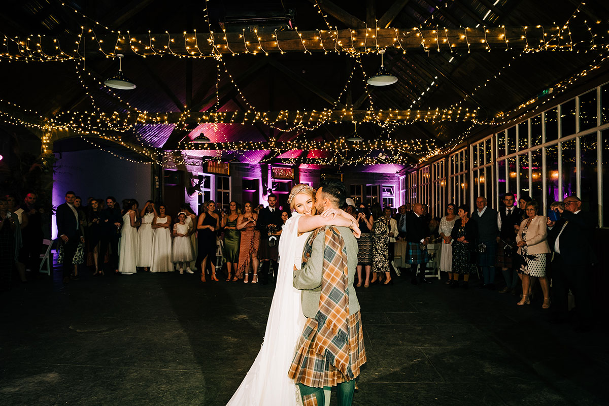 bride and groom first dance at Errol Park