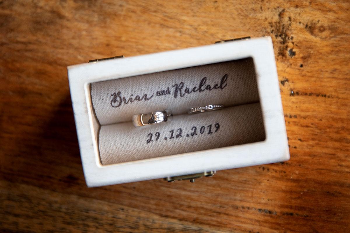 wedding rings in personalised box