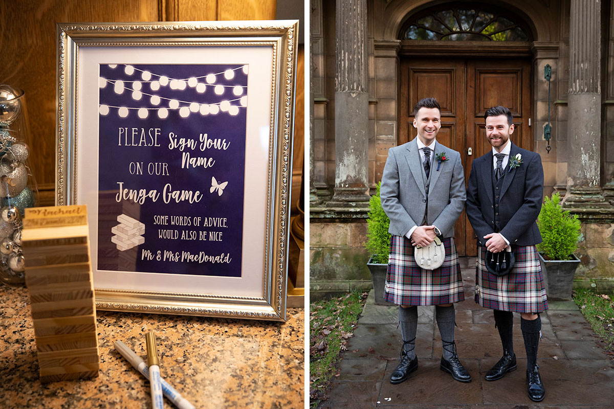 Jenga wedding sign and groom and best man outside Inglewood House