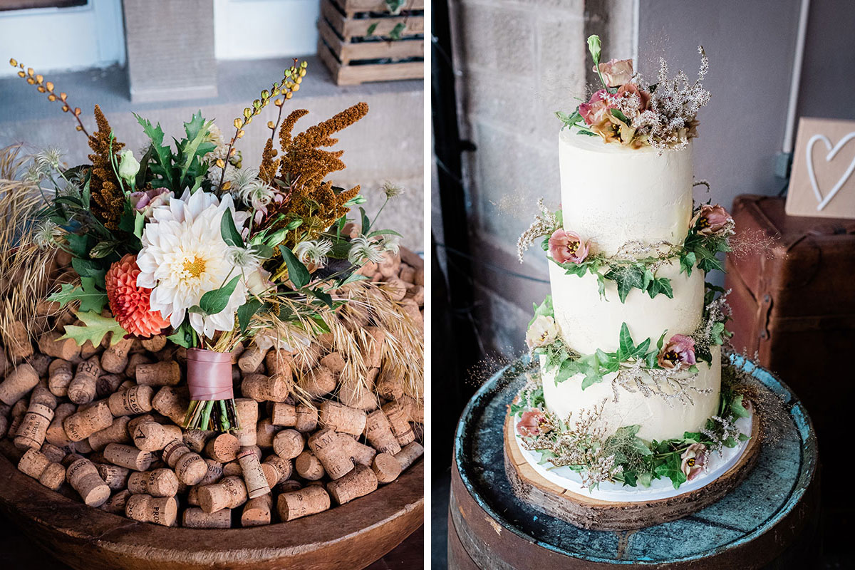 Myrtle and Bracken bridal bouquet and cake by Temptations Boutique Bakery