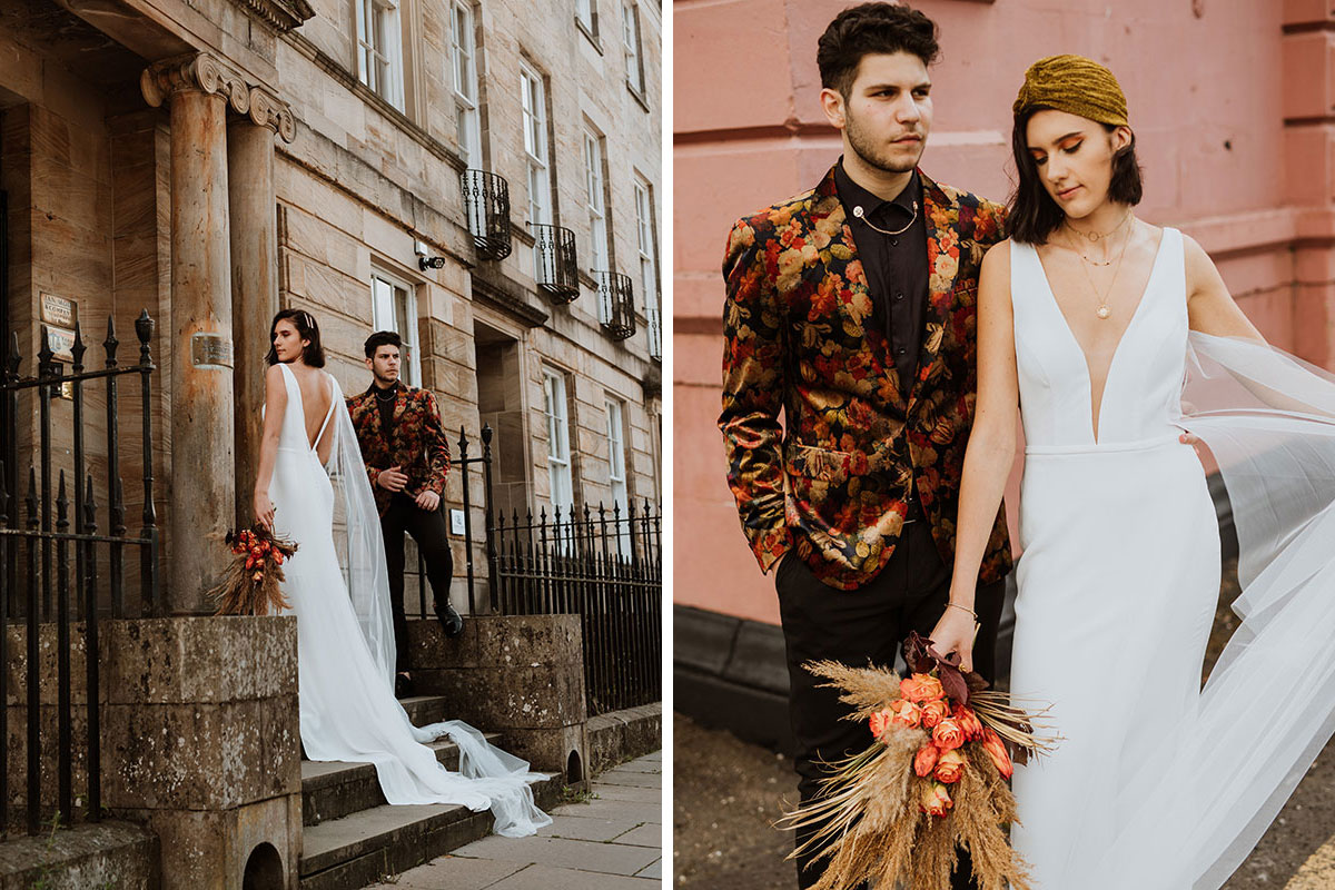 bride and groom outside Glasgow building
