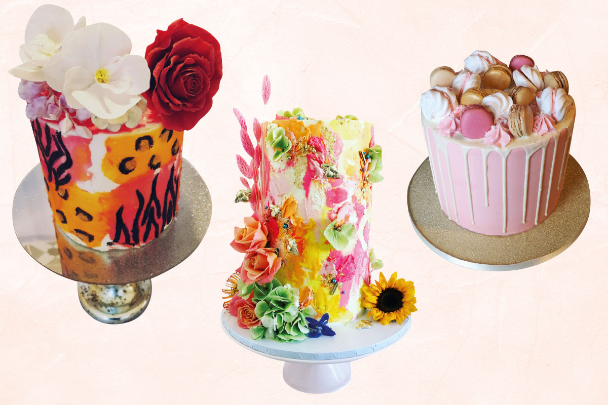 Colourful pink and unusual wedding cakes by The Bluebird Cake Company, Ruby and Pearl Cake Art and Lana-lou Bakes