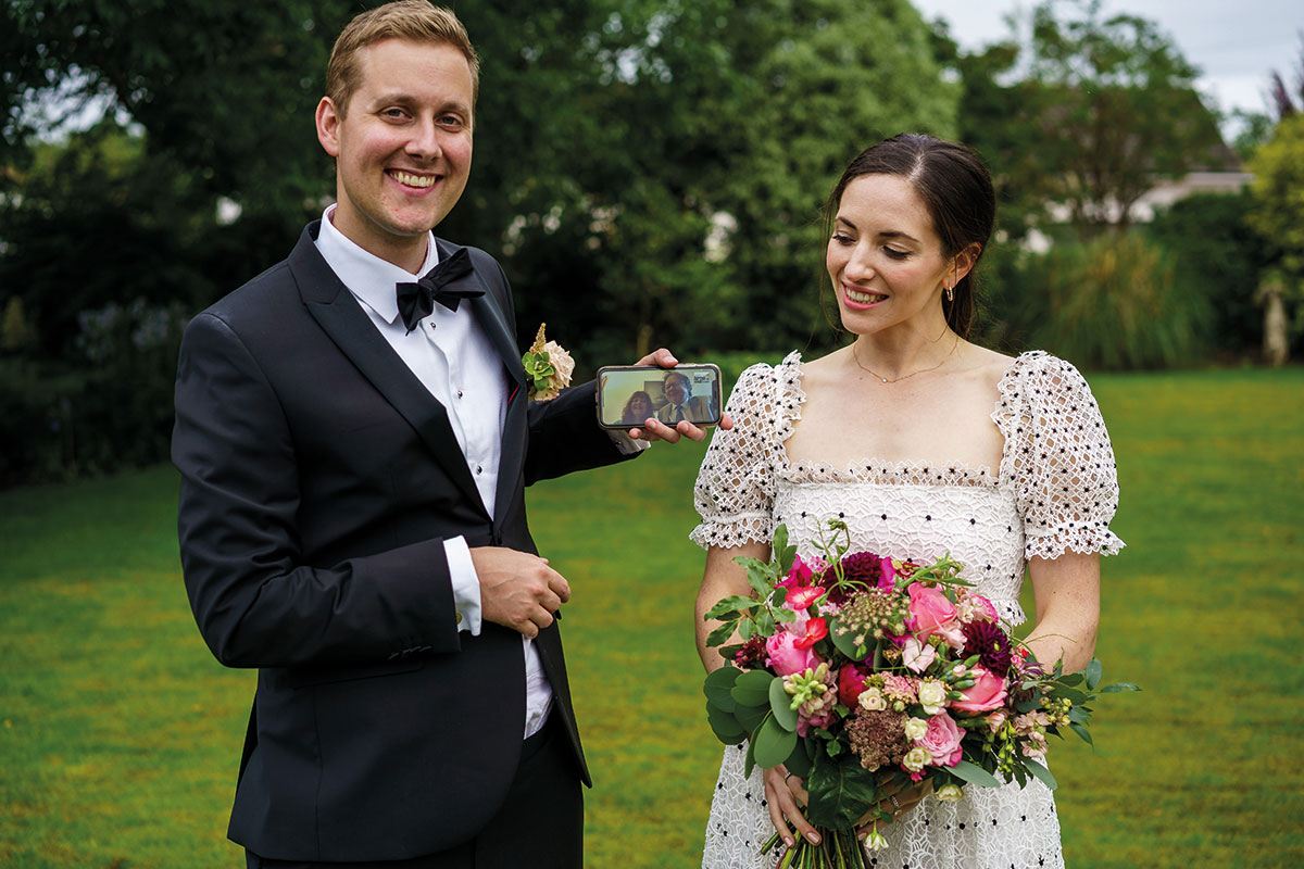 bride and groom live streaming wedding ceremony