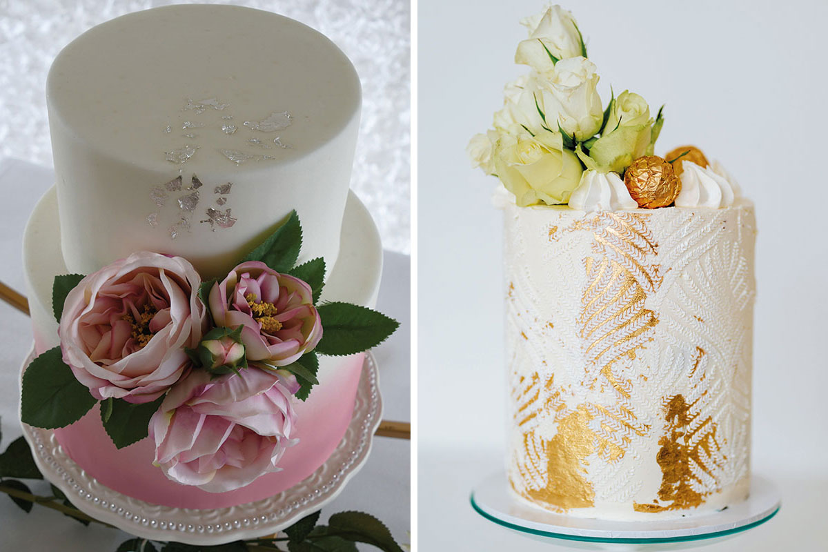 Cake Couture by Caroline small pink ombre wedding cake and Rosewood Cakes stencilled fern and gold leaf small wedding cake