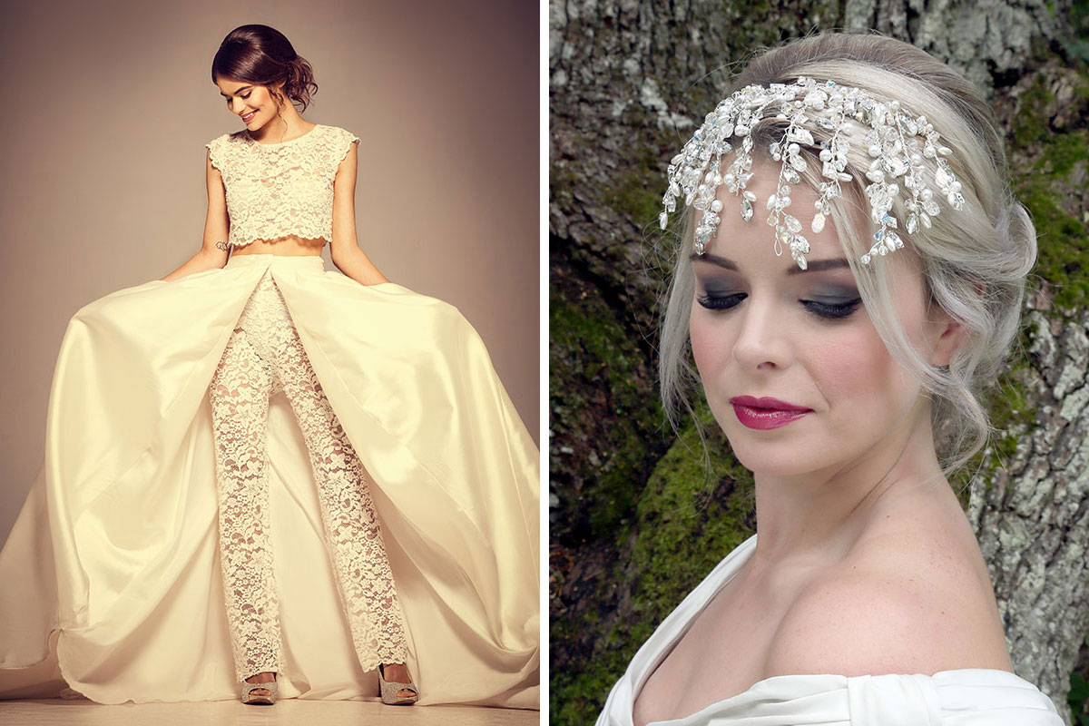 Kavelle Couture lace wedding trouser and crop top and Baba C Designs crystal and pearl headpiece