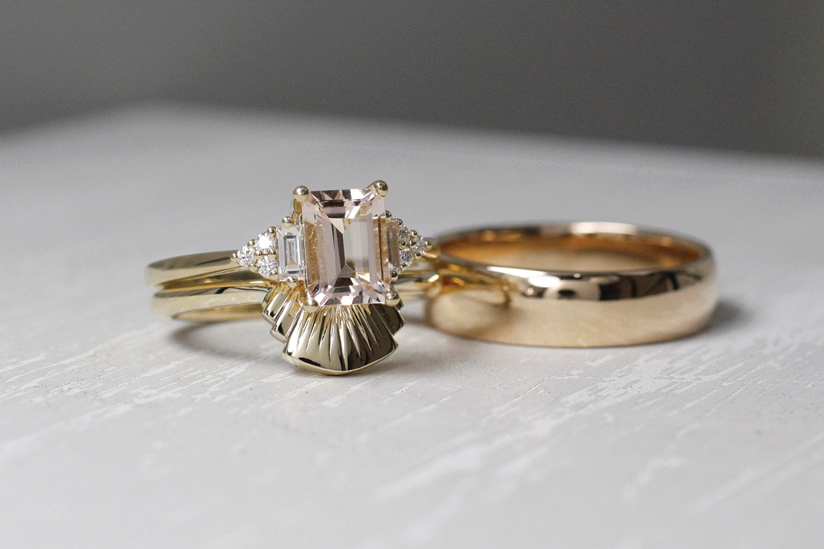 Yellow gold wedding and engagement rings from Brazen Studios