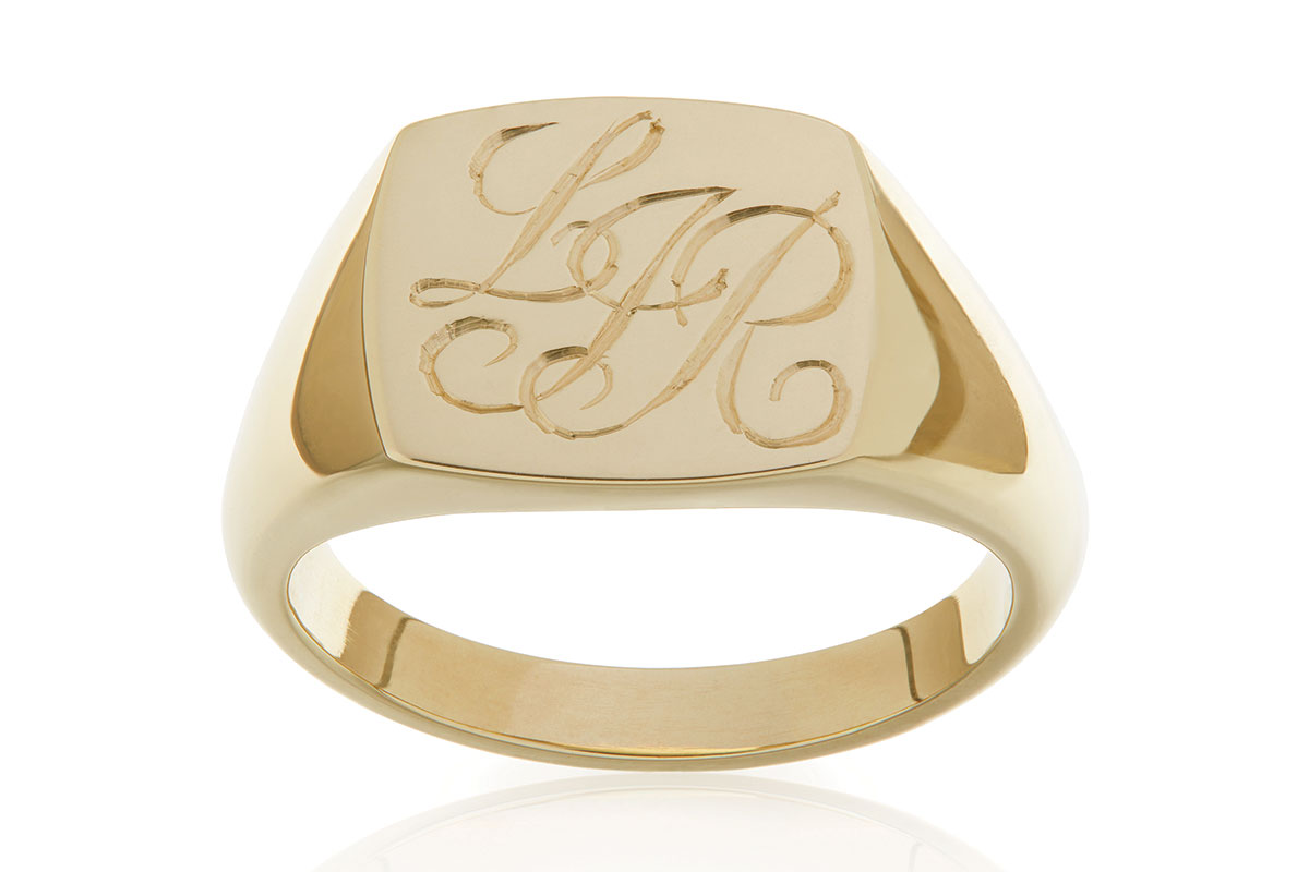 bespoke yellow gold signet ring by Liam Ross