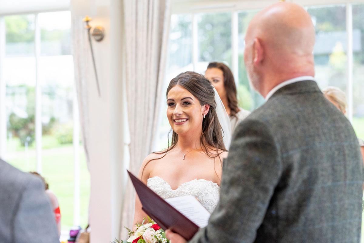 bride with Tim Macguire celebrant