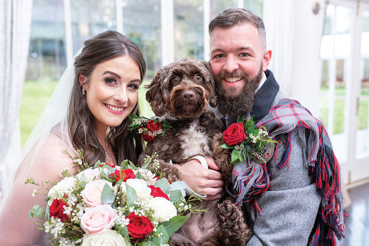 CameraShy Photography Carlowrie Castle wedding bride and groom with dog