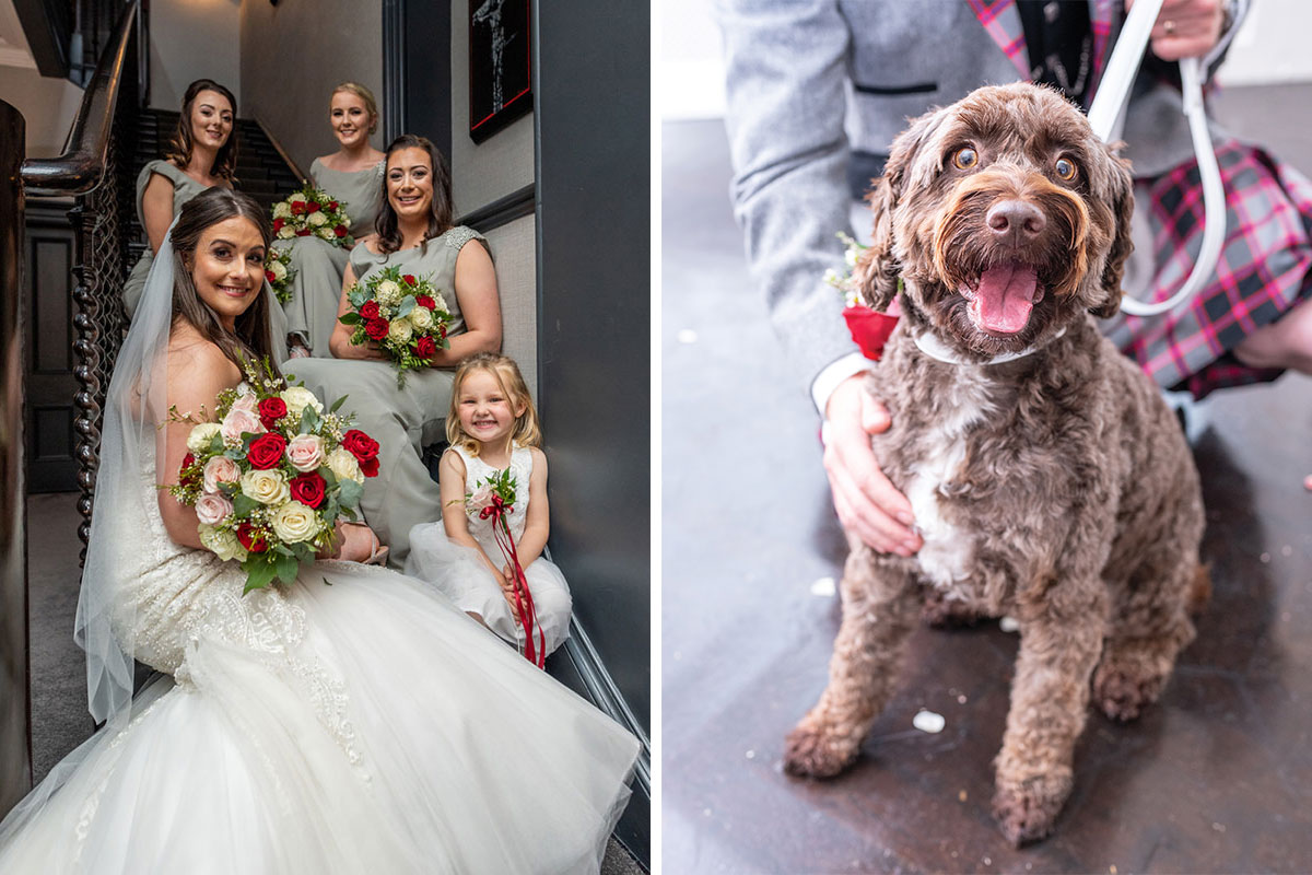 Bride with bridesmaids and dog at wedding at Carlowrie Castle