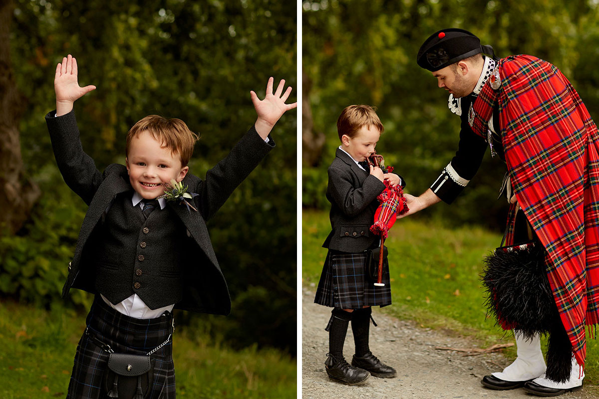 Boy-guest-at-wedding-and-being-taught-the-bagpipes
