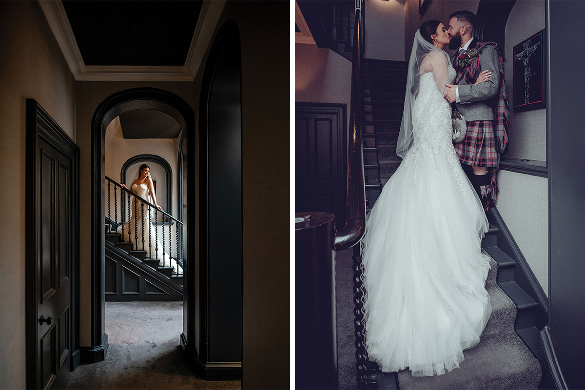 Bride and groom on stairs at Carlowrie Castle