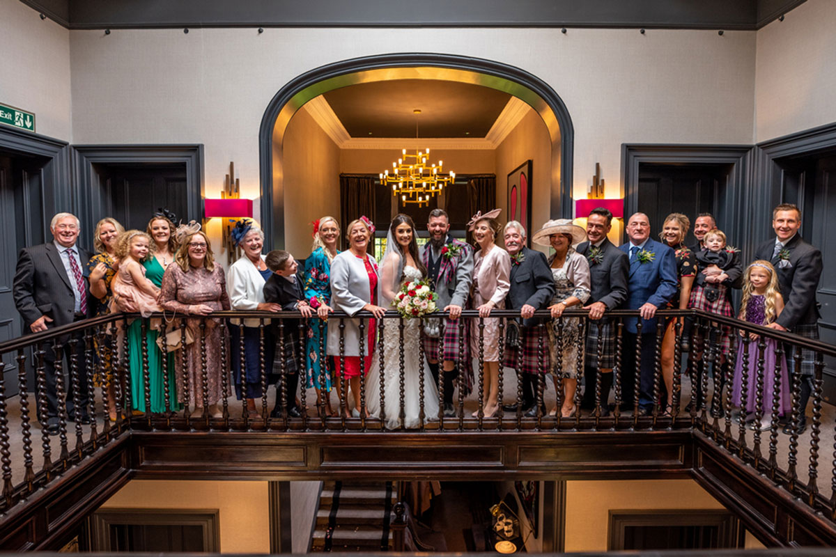 wedding guests at Carlowrie Castle