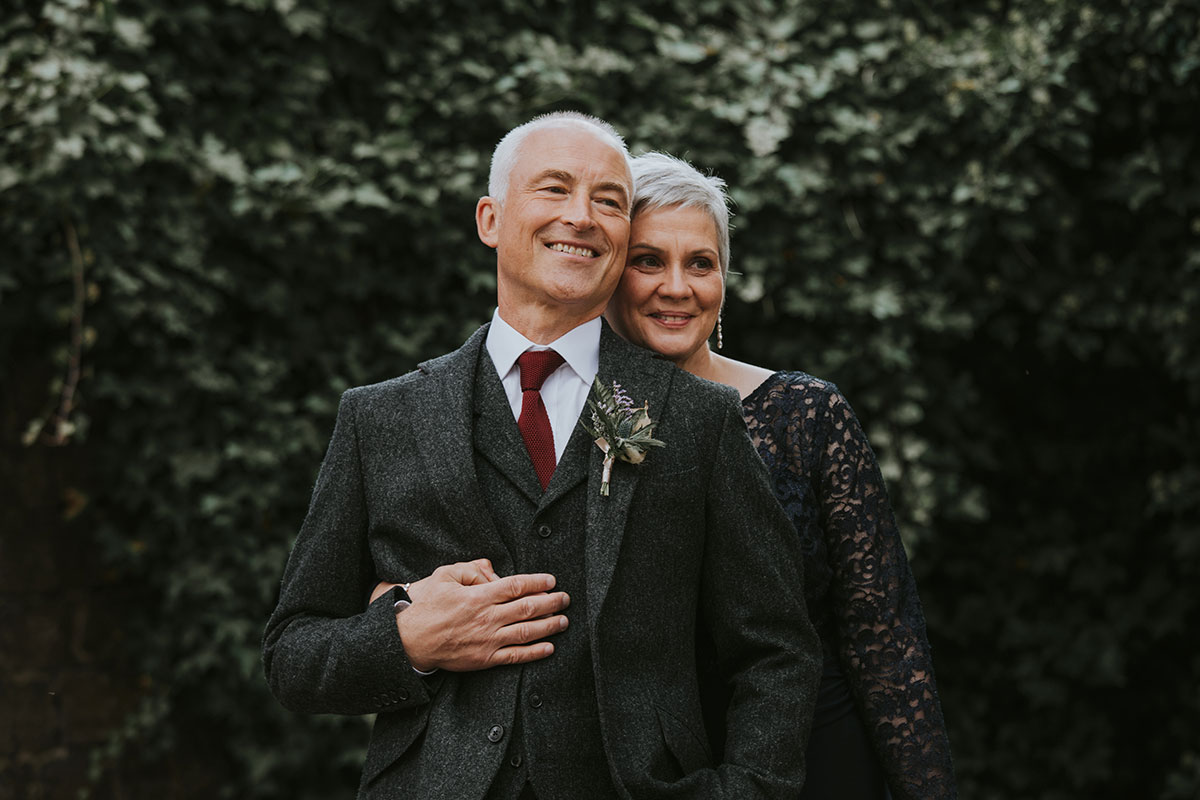 Older bride and groom outside Norton House Hotel Iris Art Photography