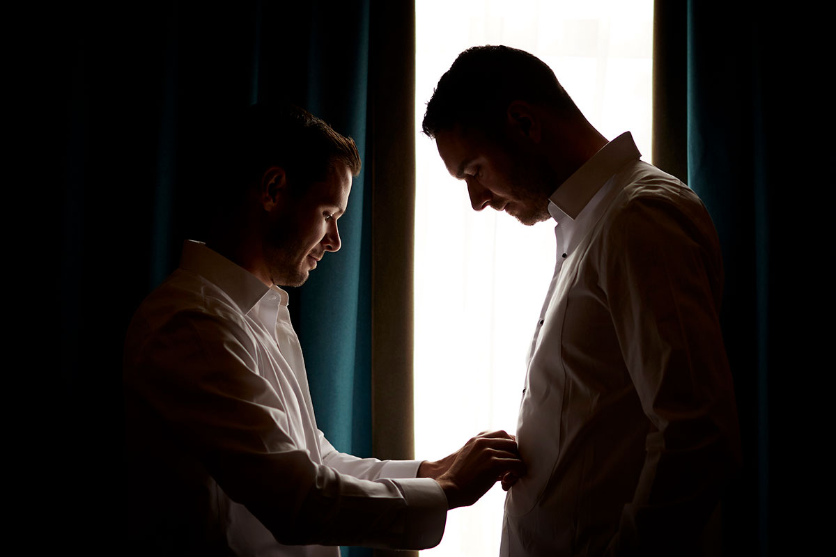 two grooms getting ready Story of Love Photography Neidpath Castle two grooms wedding