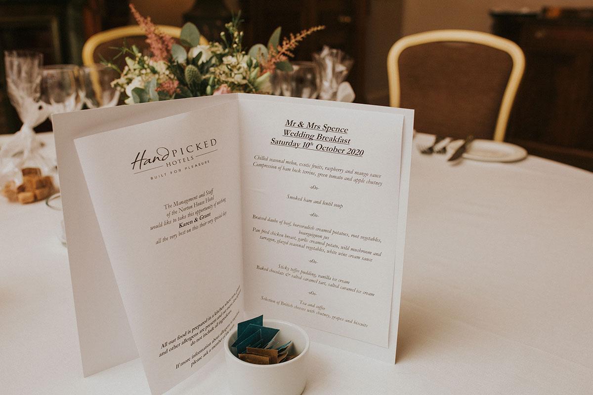 Wedding menu on table at Norton House Hotel