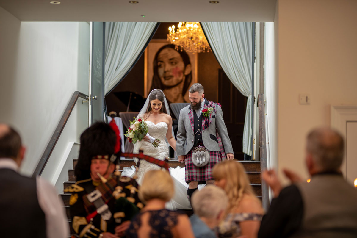 CameraShy Photography Carlowrie Castle newlyweds arriving for reception
