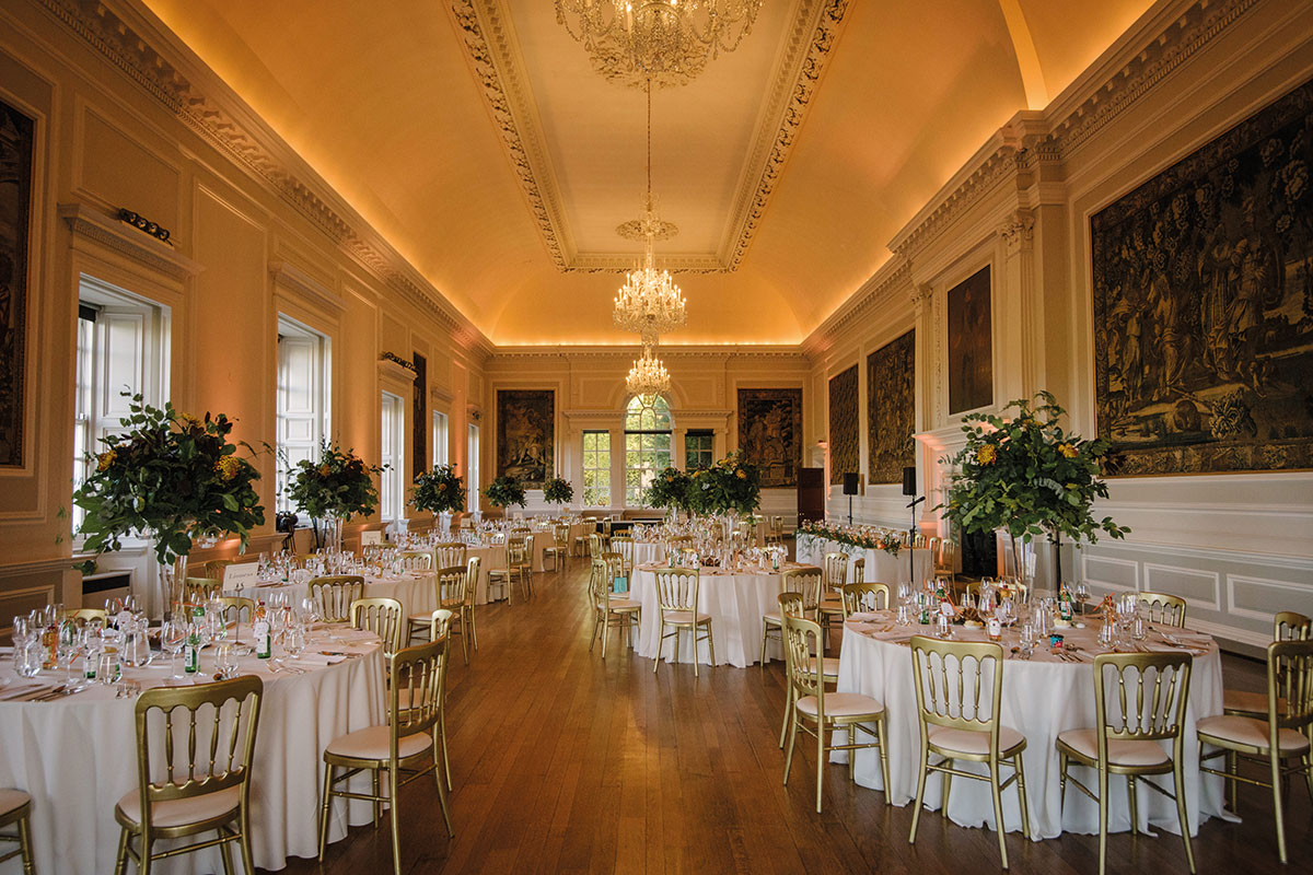 Ballroom at Hopetoun House set for wedding dinner