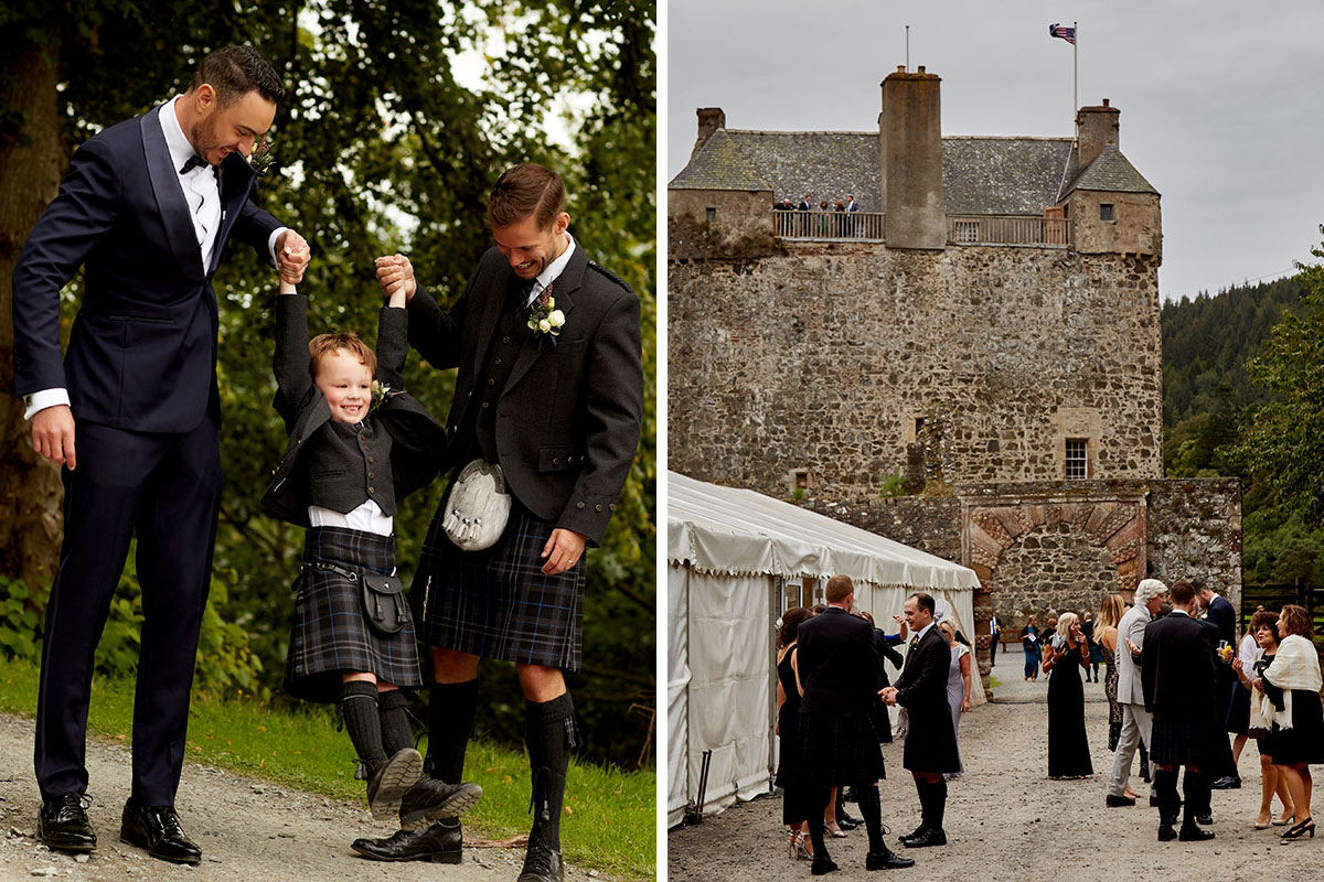 Two-grooms-swinging-boy-guest-and-exterior-of-Neidpath-Castle
