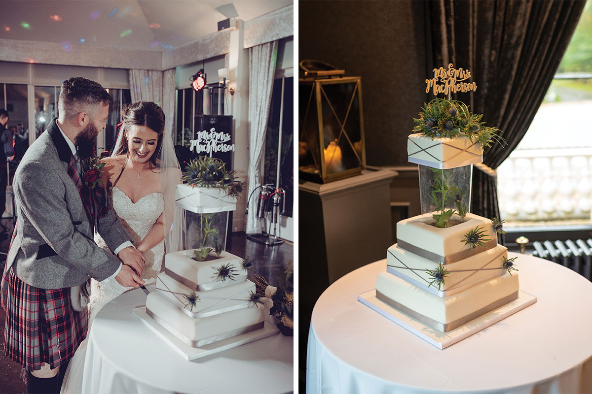 Bride and groom cutting wedding cake at Carlowrie Castle