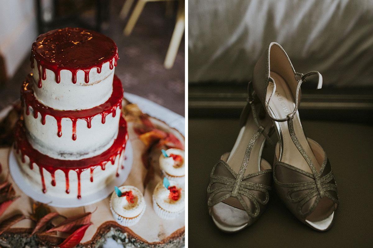 Cuckoos-Bakery-drip-wedding-cake-and-Rainbow-Club-shoes