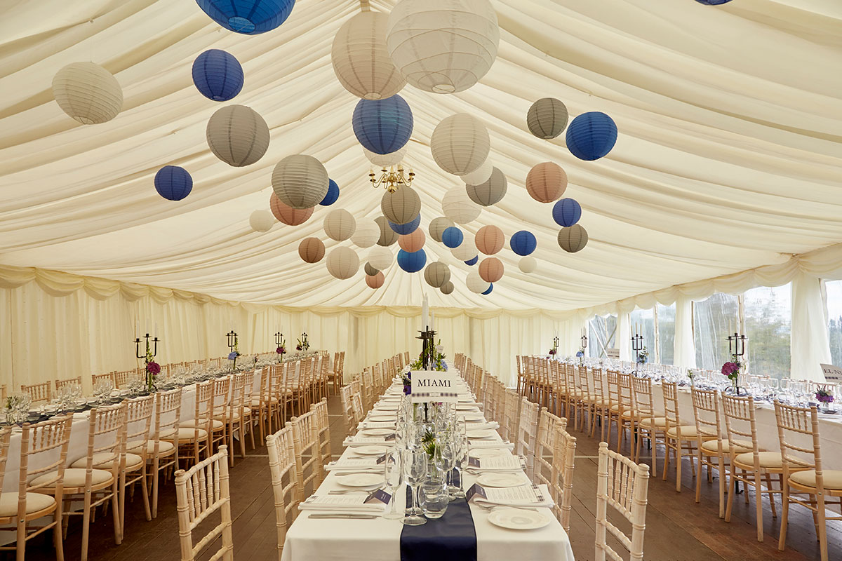 marquee set up at Neidpath Castle
