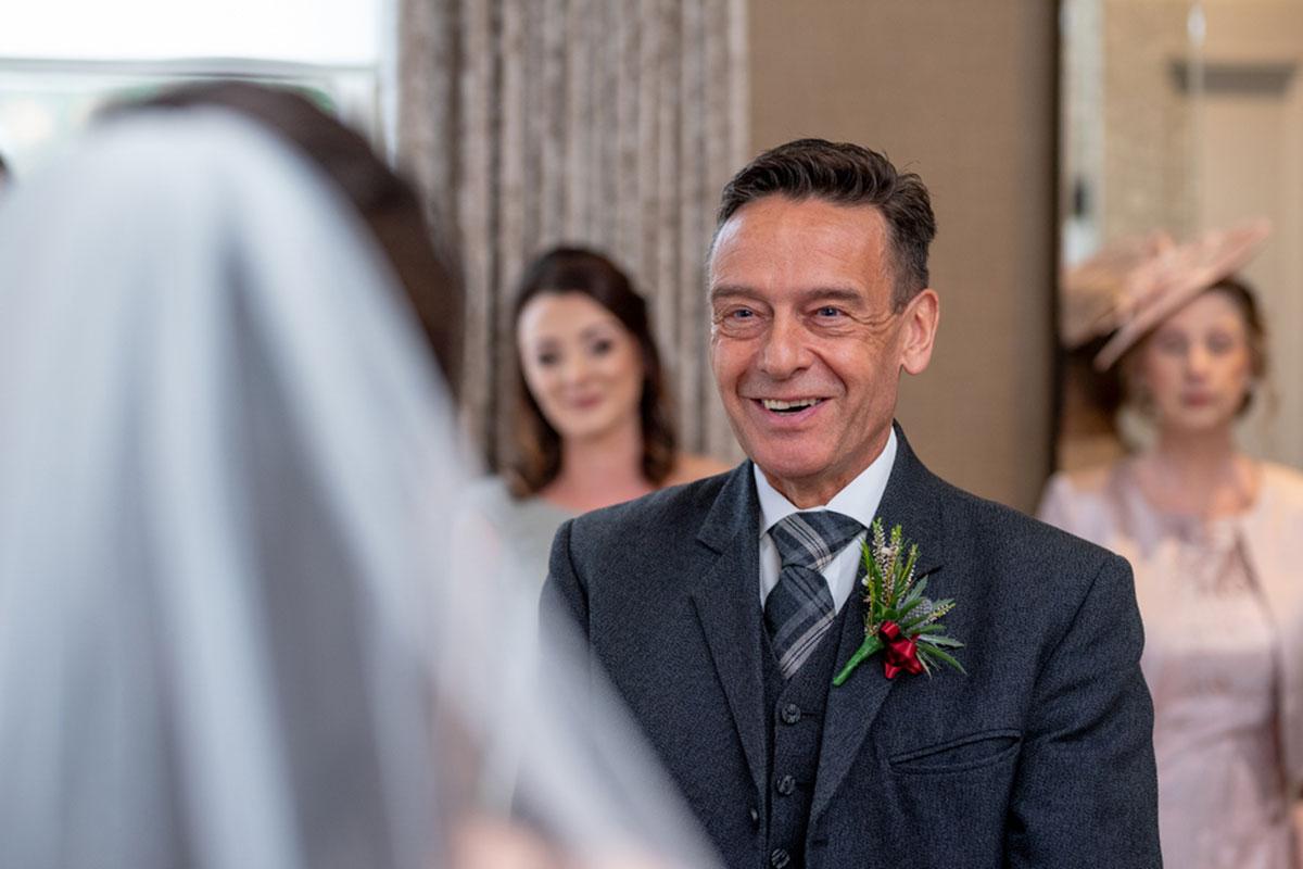 CameraShy Photography Carlowrie Castle wedding dad seeing bride