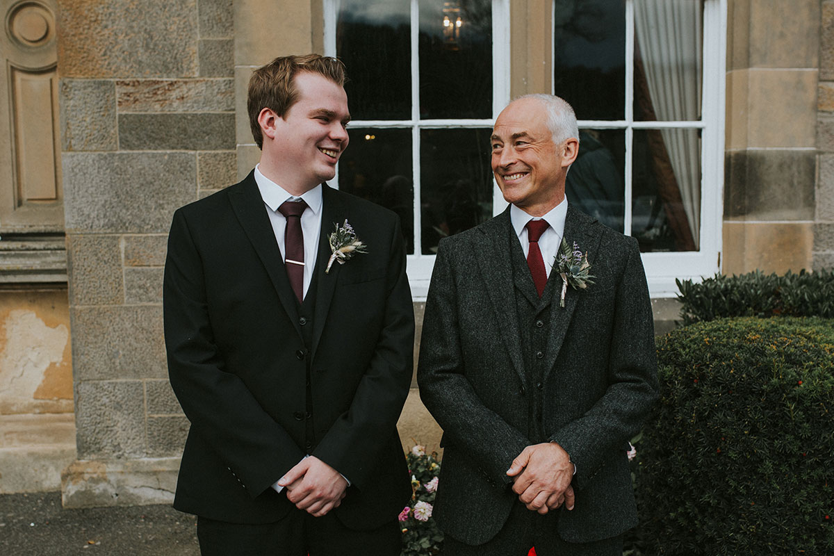 Older groom and male guest at Norton House Hotel