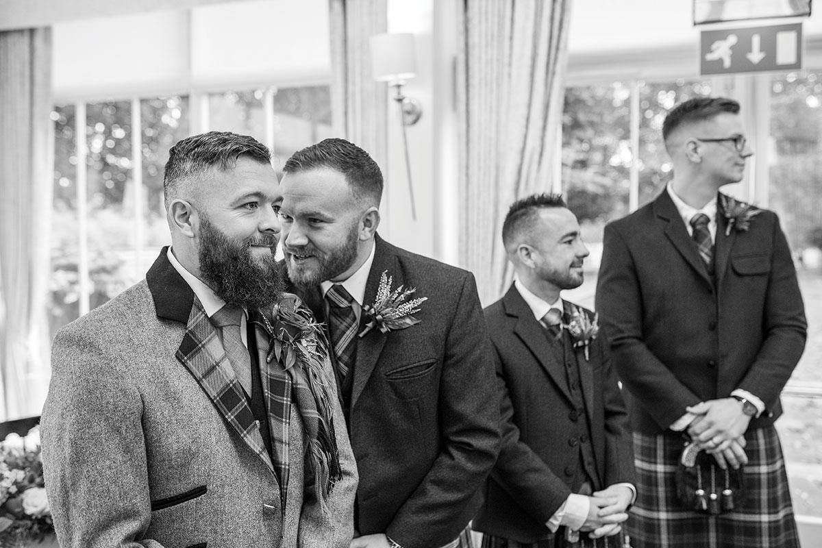 CameraShy-Photography-Carlowrie Castle wedding groom and ushers waiting on bride