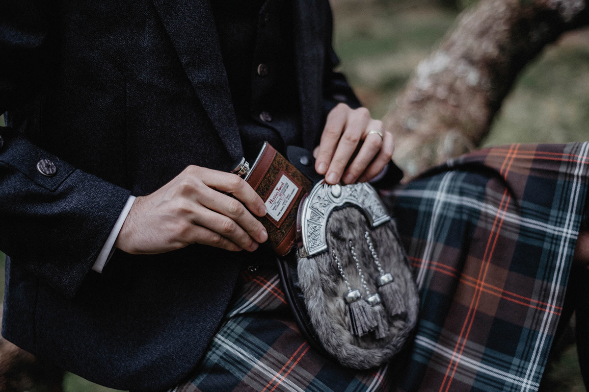 Kilt Society sporran and hipflask