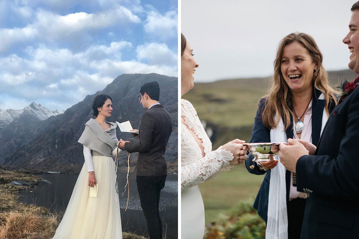 A handfasting and quaich ceremony led by Davina McCluskie of Scottish Highland Weddings