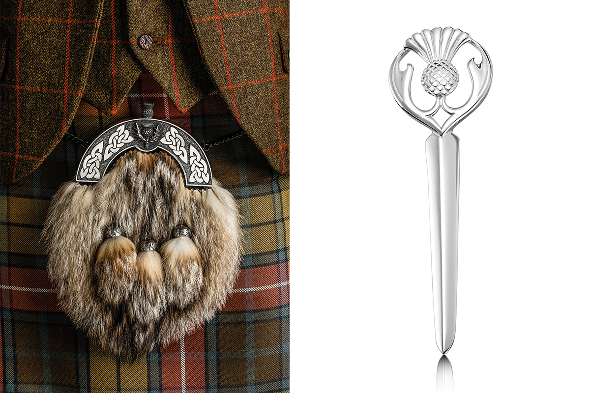Slanj Kilts sporran and Sheila Fleet kilt pin