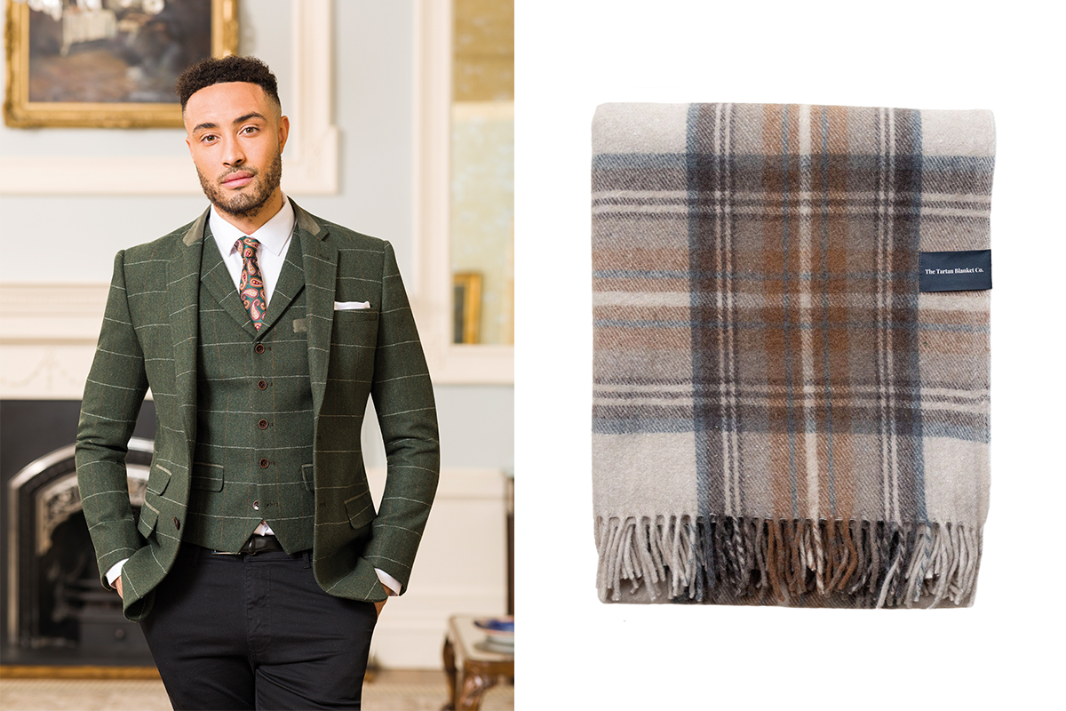 Slater Menswear suit and Tartan Blanket Co blanket