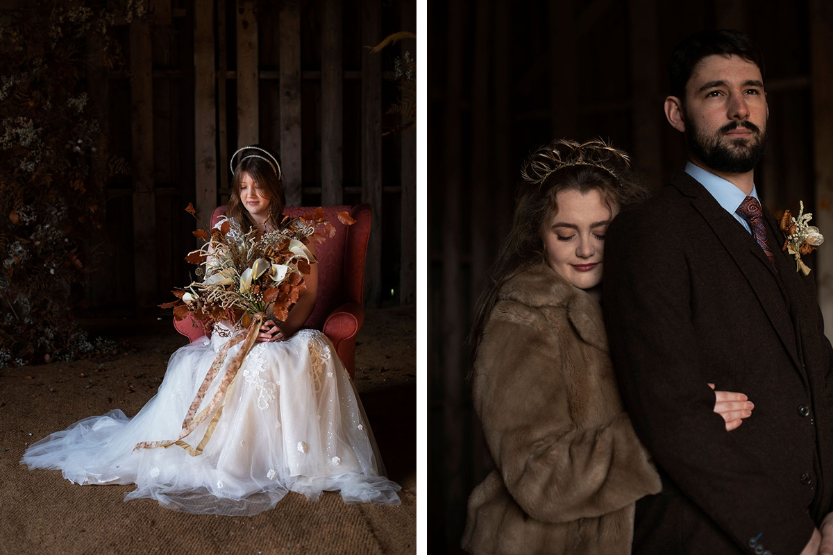 bride sitting in chair and bride and groom cuddling