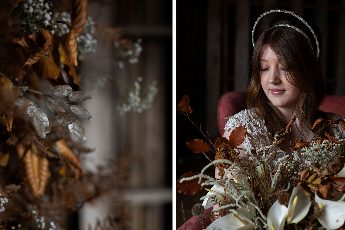 autumn leaves and bride wearing Stephanie Gallen headpiece