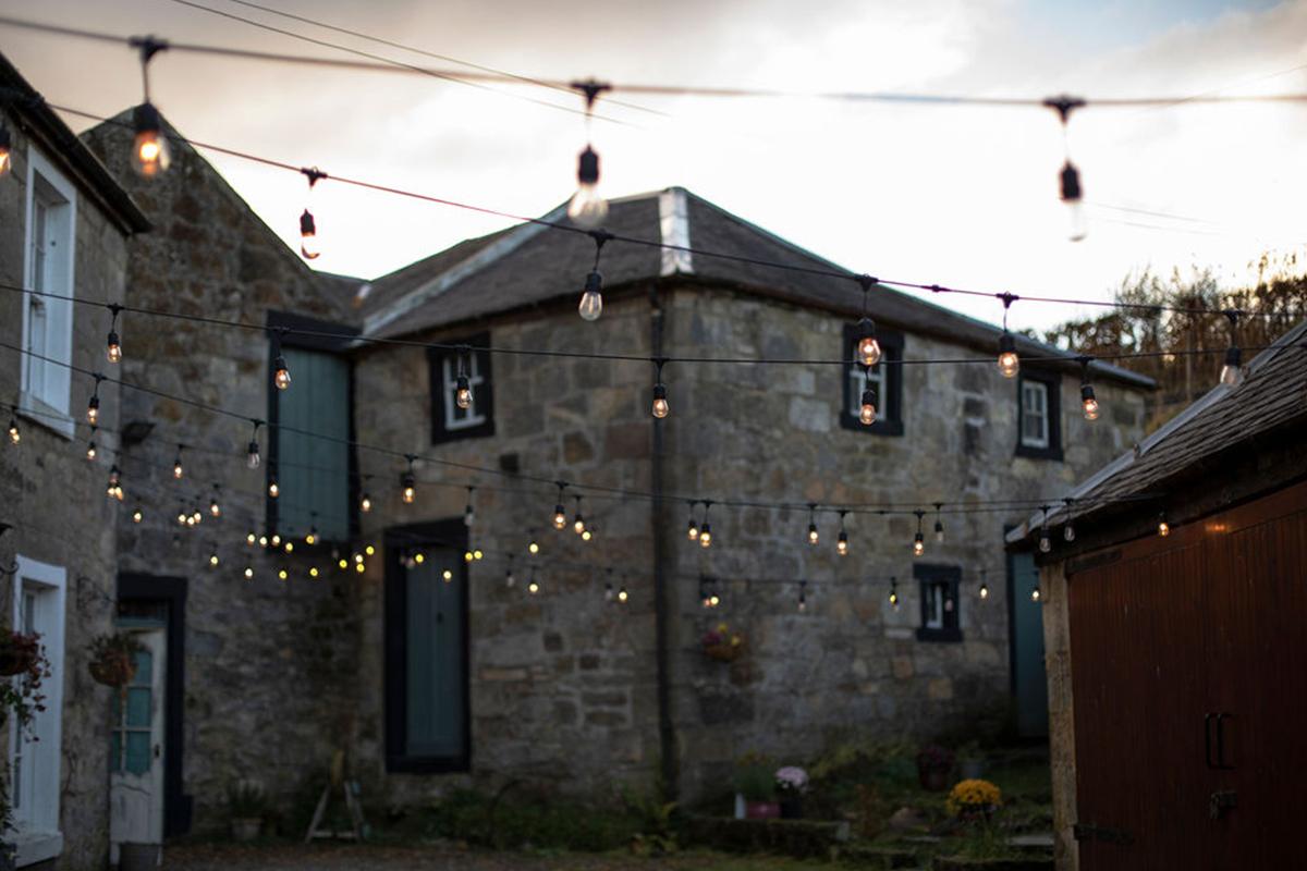 festoon lighting at Folkerton Mill