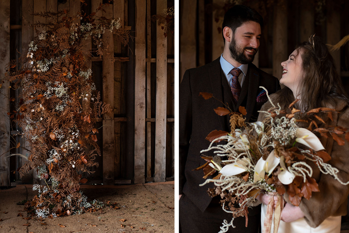 autumnal wedding arch and bride and groom