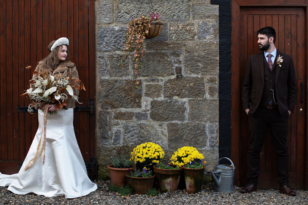 bride and groom at Folkerton Mill