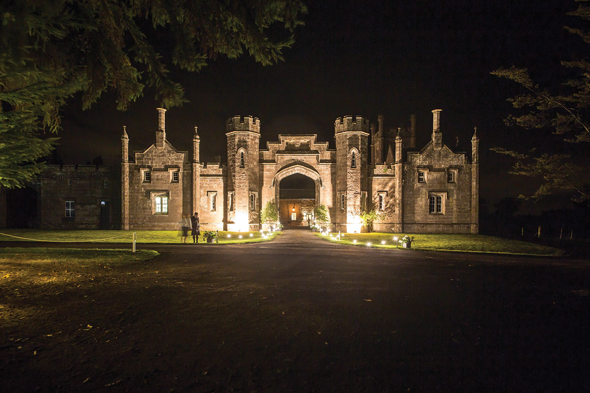 Abercairy exterior lit up at night