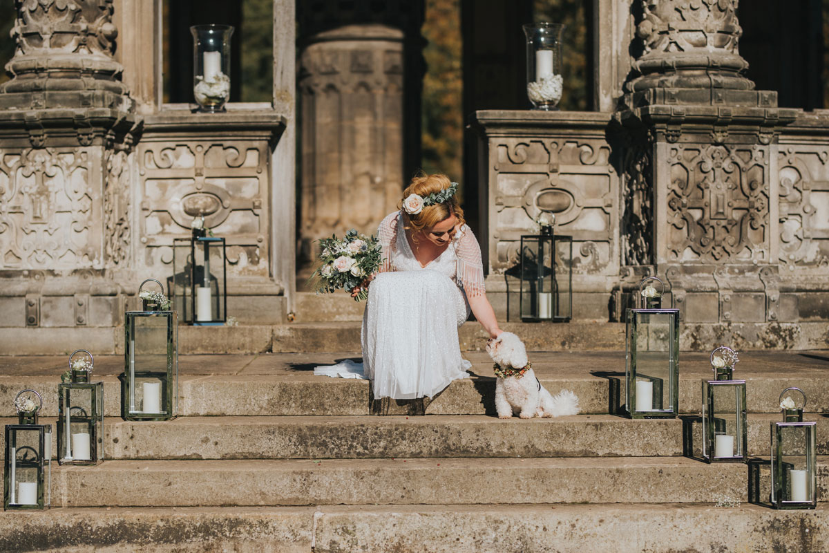 Bride and dog at The Restoration Yard Orangerie wedding venue
