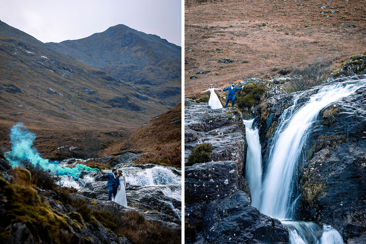 bride and groom by waterfall with smoke bomb in Glencoe