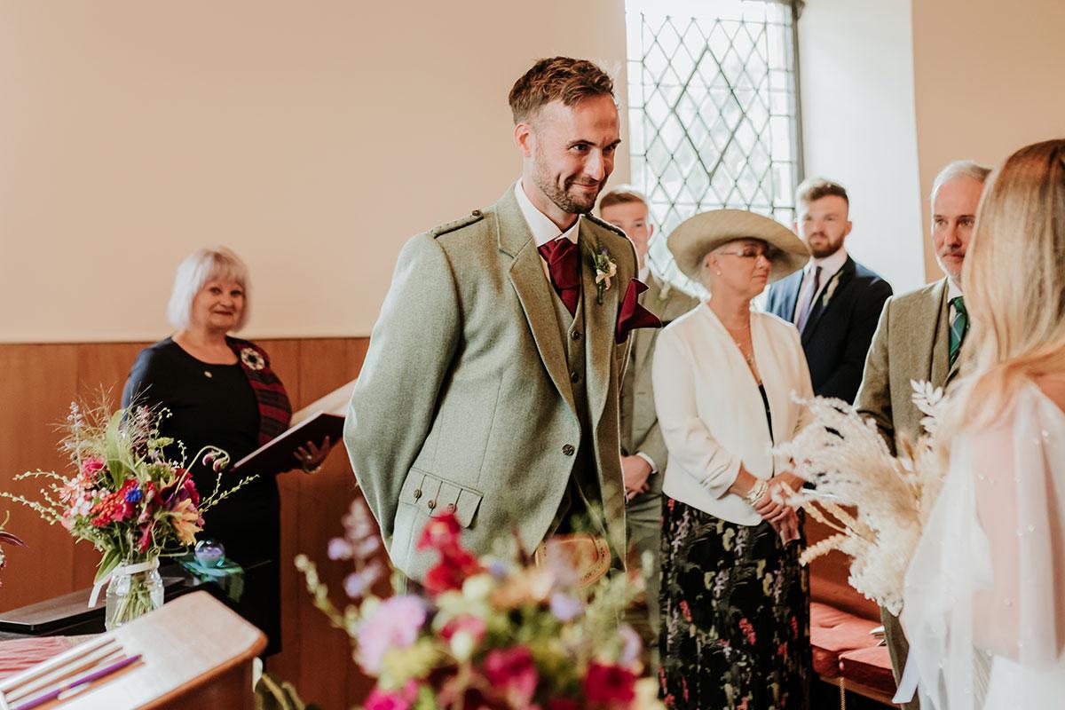 groom seeing bride at Clova Kirk wedding ceremony