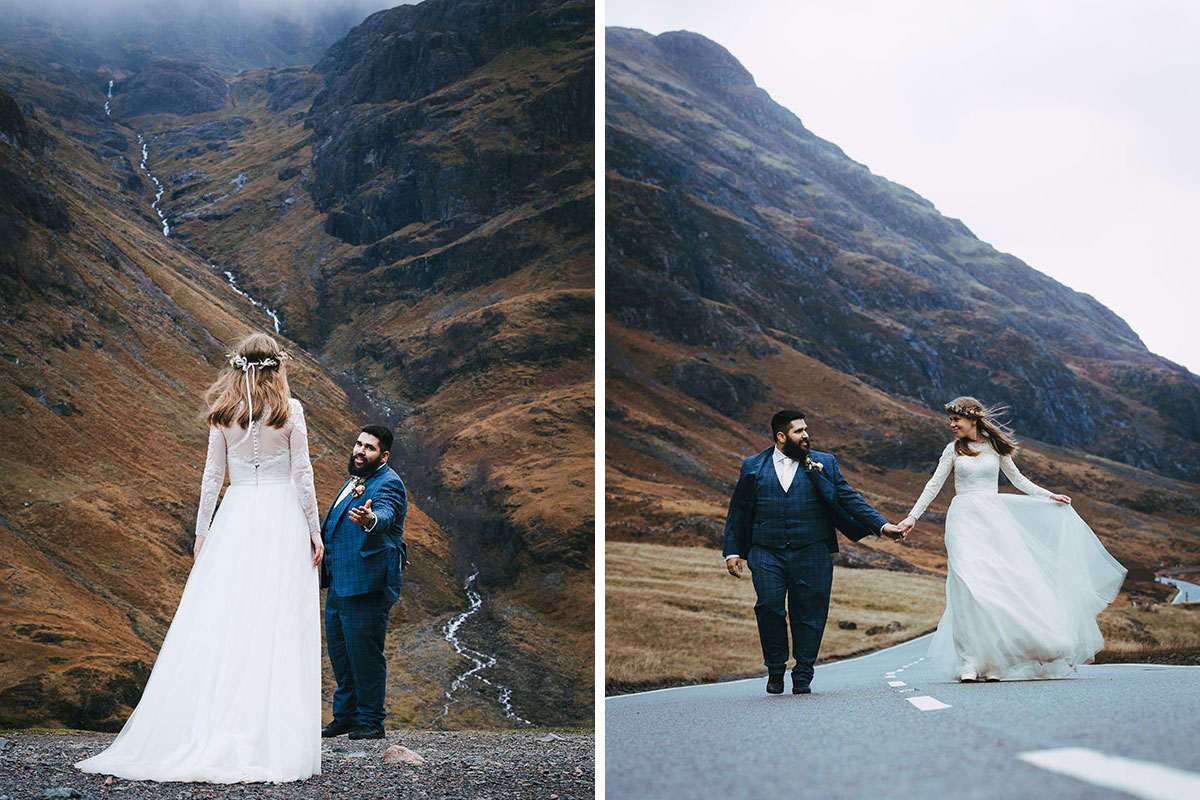 bride and groom glencoe Lewis Cannon elopement