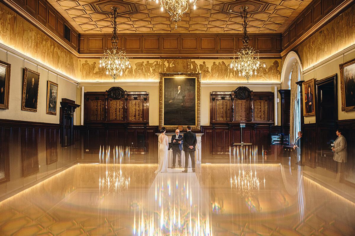 bride and groom wedding ceremony Trades Hall Glasgow elopement